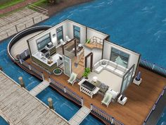White inspired houseboat #thesims #simsfreeplay #housedesign Sims Free Play, Sims Building, Building Design, Sims 3 Challenges, Sims Freeplay Houses, Sims 4 House Design, Sims House Plans, Casas The Sims 4, Sims Games