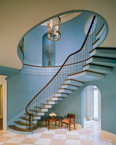 Gorgeous Blue Stair Hall, Beautifully Sculpted Hand Rail