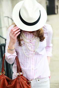 Stripes and pearls are the perfect springtime combination.