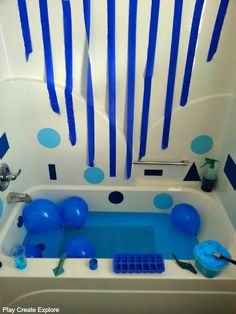 Play Create Explore: Blue Themed Sensory Bath for Color Recognition