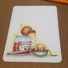 Day 2 of the #thedailymarker30day challenge...same stamp set 'Handmade' by Penny black stamps #prismacolor #pencildrawing #mice #strawberryjam #cute