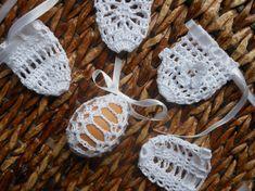 Crochet Easter Egg Cover, Set of 5 Hand Crocheted Easter Eggs Easter Decoration White