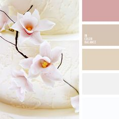 Delicate shades of beige in combination with pink accentuate tenderness and innocence of a bride. This palette is good for wedding decoration in spring or. Colour Pallette, Colour Schemes, Color Combos, Color Harmony, Color Balance, Palette Pastel, Design Seeds, Colour Board, Warm Colors