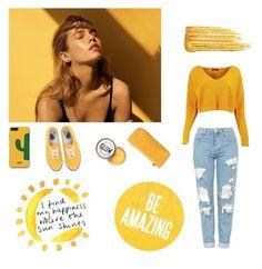 Yellow Sun by ellilla on Polyvore featuring Boohoo, Vans, WithChic, Yves Saint Laurent and Bottega Veneta