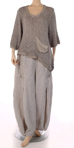 "This looks just beautiful Barbara Speer Natural ""Old Dye"" Linen Tulip Trouser"