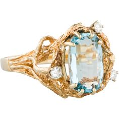 Aquamarine & Diamond Ring ($675) ❤ liked on Polyvore featuring jewelry, rings, gold, 14 karat gold ring, statement rings, cocktail ring, diamond rings and statement diamond rings