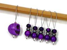 Stitch Markers Snagless Purple Skull DIY Knitting by TJBdesigns Knitting Supplies, Stitch Markers, Wind Chimes, Knitting Patterns, Knit Crochet, Folk, Skull, Crafty, Purple
