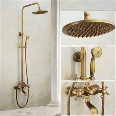 Antique Brushed Finish Brass Bathroom Shower Faucet with Handheld  Carved Base 3 Hole Handle Wall Mount Set 8 Rain Head Mixer Tap W