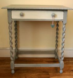 Lovely vintage oak table with drawer - painted in Annie Sloan chalk paint.  Listed on Ebay UK - starting price £29.99 - auction ending 14 July 2012.  http://www.ebay.co.uk/itm/Vintage-oak-shabby-chic-table-drawer-painted-Annie-Sloan-chalk-paint-/330760370888?_trksid=p4340.m185&_trkparms=algo%3DSIC.NPJS%26its%3DI%26itu%3DUA%26otn%3D5%26pmod%3D330728105791%26ps%3D63%26clkid%3D516418561700715298