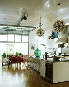 ***I like the modern kitchen. and the organic colors.  Pretty much obsessed with this kitchen....Love how the Novogratz's mix modern, clean lines, with unexpected pops of color and antique furniture and lighting.
