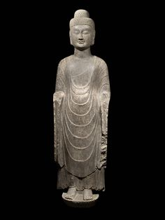 Limestone Standing Buddha | From a unique collection of figurative sculptures at https://www.1stdibs.com/art/sculptures/figurative-sculptures/