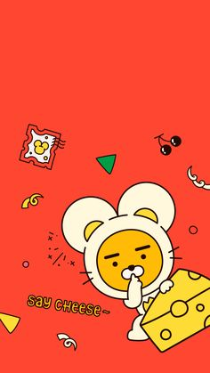 Please check out daily Kakao Friends items in online store. Kakao Ryan, Apeach Kakao, Pretty Wallpapers, Iphone Wallpapers, Kakao Friends, Friends Wallpaper, Line Friends, Illustrations And Posters, Cute Designs