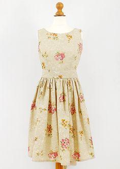 Vintage fabric tea dress in pink & beige floral handmade by MOLLOY  www.maggiemolloy.com
