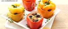 Peperoni ripieni di riso, acciughe, olive e capperi