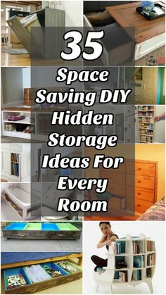 35 Space Saving DIY Hidden Storage Ideas For Every Room - 35 of the BEST DIY organizing ideas that provide hidden storage space. Includes DIY plans to create hidden storage for kitchen, bathroom, living room and bedroom. #organizing #storage #builtin #bathroom #bedroom #furniture