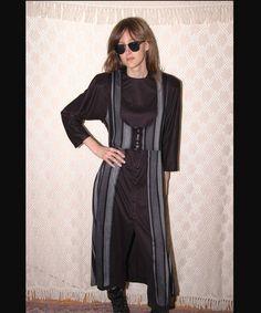 Steampunk Grunge Vintage 80s Stripe Dress S M by Pasttimesvintage