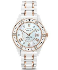 This beautiful watch for her from the Marine Star Collection by Bulova showcases a white ceramic case with rose-gold-tone accents and diamonds individually hand set on the bezel and white dial. The mother-of-pearl inner dial and date window are toppe Bulova Watches, Fossil Watches, Star Watch, Female Marines, Ladies Dress Watches, Watch Model, Beautiful Watches, Watch Brands, Link Bracelets