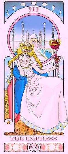 Imagens de cartas de Tarot inspiradas nos personagens da série animada japonesa Sailor Moon. Criação do deviant-designer Sillabub429