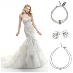 Maggie Sottero dress with Abrazi Jewelry www.honeymoonshop.nl