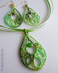 "PDF Tatting pattern ""Trendy Teardrop"" earrings or pendant. $3.25, via Etsy."