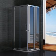 1850mm height sliding shower enclosure 6mm glass door corner entry cubicle tray