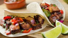 Steak Tacos with Red Peppers and Onions