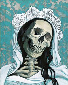 Briana Bainbridge - Santa Muerte in white and turquoise Skull Reference, Grim Reaper Tattoo, Day Of The Dead Skull, Skeleton Art, Occult Art, Skulls And Roses, Motorcycle Art, Unusual Art, Skull Art