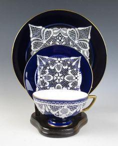 Antique Italian MERLETTO LACE Porcelain Cup Saucer Plate TRIO Venetian COBALT