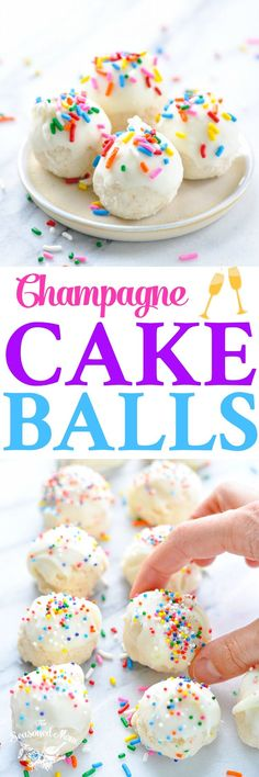 These Champagne Cake Balls are an easy dessert recipe for a New. These Champagne Cake Balls are an easy dessert recipe for a New Years Eve party! Easy Desserts, Dessert Recipes, Dessert Ideas, Yummy Recipes, Yummy Food, Champagne Cake, Champagne Truffles, Cake Ball Recipes, Cake Mixture