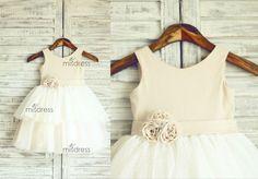 Linen Polka Dots Tulle Flower Girl Dress Wedding di misdress, $45.99