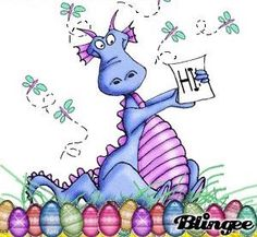 Dragon with painted eggs...