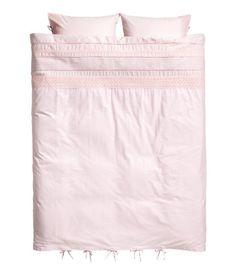 Hulbroderet sengesæt | Lys rosa | Home | H&M DK