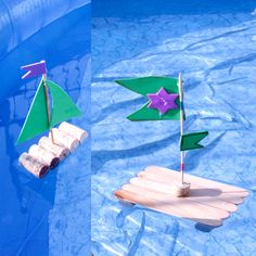 Make boats out of corks or popsicle sticks! Great way to cool off during the summer :D