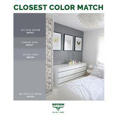 Gray and White: A versatile hue, when matched with white, gray can make any bedroom comfortable and inviting. Keep the space soft and interesting by adding a variety of textures and/or natural accents. #decoratingtips #painting #interior #bedroom #gray #grey #white