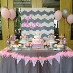 Chevron, pink, grey, baby shower, carriage rossette cake, dessert table, boa banner Great Dane cake, cakes pops by noosha, boa by @hjobeid, design by @pixiesweetsandtreats
