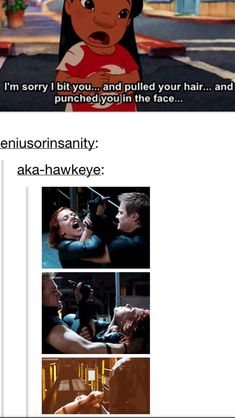 Laughing so hard!! Natasha bites Clint, Clint pulls her hair and then she punches him :)