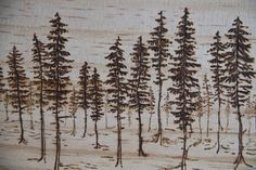 Wood-burned trees by Emilie Crewe (detail) #woodburning #trees #art #wood