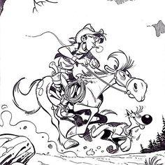Comisión  de Lucky Luke realizada por Oscar Martin, una maravilla! ❤️ #Oscarmartin #ominiky #dibujo #dibujante
