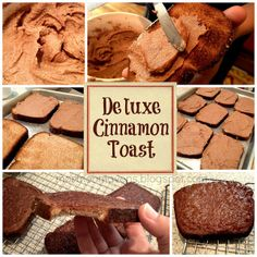 Mormon Mavens in the Kitchen: Cinnamon Toast Ingredients: 16 slices of whole wheat bread 2 sticks of butter, softened 1 cup sugar 3 tsp. cinnamon 2 tsp. vanilla extract (optional) 1/8 tsp. nutmeg (optional) 1.  Turn oven broiler on HI.  Lightly toast the bread in a toaster.  Set toast on baking sheet and let it cool. 2.  With a fork, smush together the butter, sugar, and cinnamon in a bowl.  It should be a thick mixture, like heavy frosting. 3.  Spread a generous layer onto each toast piece…