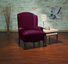 Sure Fit Eastwood Plush One Piece Stretch Wing Chair Slipcover (Merlot), Red (Solid) Furniture Slipcovers, Slipcovers For Chairs, Grey Accent Chair, Beautiful Interior Design, Wing Chair, Black Furniture, Home Decor Shops, Living Room Bedroom, Wingback Chair