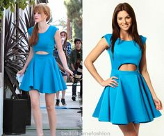 Bella Thorne wears this Bright blue Boohoo olivia cut out waist full skirted skater dress at the Boohoo Tea Party on March 26th 2013.