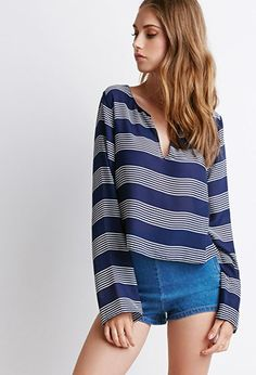Striped Chiffon Blouse   Forever 21 - 2000131138