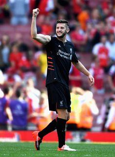 Adam Lallana of Liverpool celebrates after the Premier League match between…