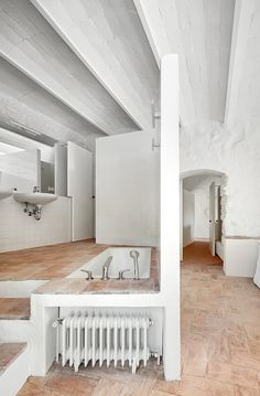 Arquitectura-G, José Hevia · Refurbishment of a Country House Stone Interior, Interior Design, Cabin Interiors, White Interiors, Spanish House, Loft Style, City Living, Bathroom Styling, Modern Bathroom