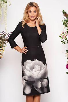 Black elegant daily midi pencil dress with sleeves with floral prints Black Abaya, Baptism Dress, Dress Cuts, Pencil Dress, Size Clothing, New Dress, Dress Outfits, Curvy, Floral Prints