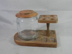 Vintage Pipe Stand with Tobacco Jar Wooden Smoking 4 Pipe Rack Holder Glass Humidor Desk Dresser Caddy Art Supply Storage by WesternKyRustic on Etsy