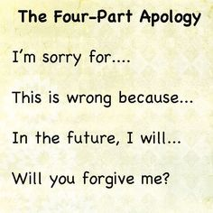 The Four Part Apology;  how to help your kids learn to apologize.  Best apology #parenting #YoungParenting