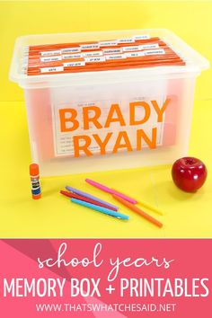 Organize your child's school paper life with this awesome School Year Memory Box! Print off the keepsake printables and tabs and have the perfect place to keep and organize those special papers and projects you want to keep! #schooldays #organization