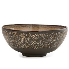 "SCHEIER Early bowl with sgraffito decoration, New Hampshire, 1950s; Signed Scheier; 3 1/2"" x 8 1/2"""
