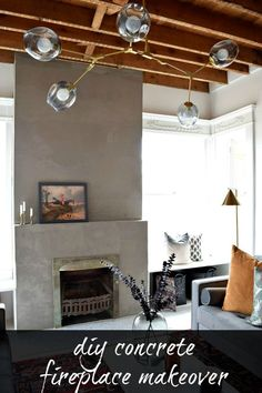 DIY Concrete Fireplace Makeover Did you know you can have your own concrete fireplace? This tutorial shows you how to update your fireplace with this DIY Concrete Fireplace Makeover. Stucco Fireplace, Concrete Fireplace, Home Fireplace, Fireplace Remodel, Fireplace Surrounds, Fireplace Design, Diy Concrete, Fireplace Ideas, Fireplace Diy Makeover